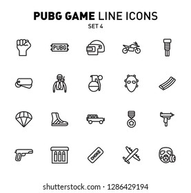 PUBG game line icons. Vector illustration of combat facilities. Linear design. The Set 4 of icons for PlayerUnknown's Battlegrounds.