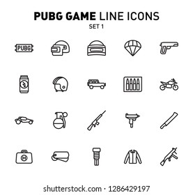 PUBG game line icons. Vector illustration of combat facilities. Linear design. The Set 1 of icons for PlayerUnknown's Battlegrounds.