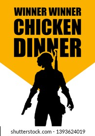 pubg game. silhouette of a soldier, player. in uniform. vector illustration logo. logo winner winner chicken dinner.