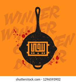 """Pubg silhouette pan. PlayerUnknown's Battlegrounds concept. Arabic calligraphy translation letters """" PUBG """" on a frying pan vector illustration."""