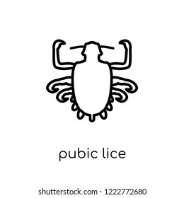 Pubic lice icon. Trendy modern flat linear vector Pubic lice icon on white background from thin line Diseases collection, editable outline stroke vector illustration