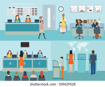 Public access to financial services to banks, bank interior, counter desk, cashier, consulting, presenting, queuing for ATM, currency exchange,Banking concept vector illustration.