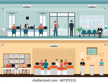 Public access to financial services to banks, bank interior, counter desk, cashier, consulting, presenting, Banking concept vector illustration.