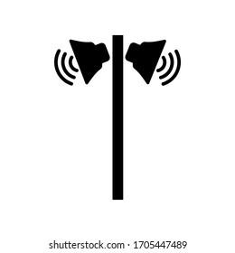 Public address loud speakers on pole - street loudspeaker icon.
