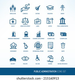 Public administration icons set