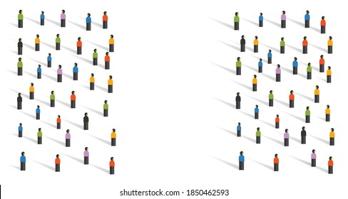 public backlash opponent rivalry concept in crowd standing at different side because of competition confrontation with opponent