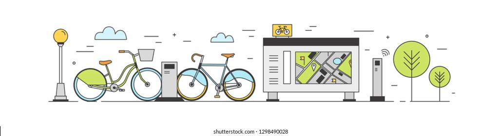 Public bike sharing area with bicycles available for rent parked at docking stations on city street, payment terminals, map stand. Rental service. Colored vector illustration in modern line art style.