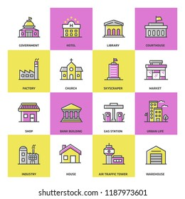 Public Buildings Colored Icon Set