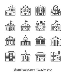 Public buildings vector line icons set