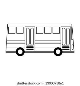 Public bus vehicle black and white
