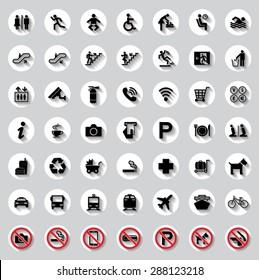 Public circle signs vector set
