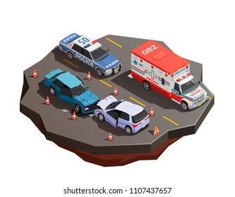 Public city transport isometric composition with two broken cars after collision with ambulance and police car vector illustration