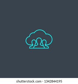 public cloud concept blue line icon. Simple thin element on dark background. public cloud concept outline symbol design. Can be used for web and mobile UI/UX