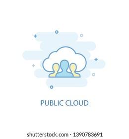 public cloud line concept. Simple line icon, colored illustration. public cloud symbol flat design. Can be used for UI/UX