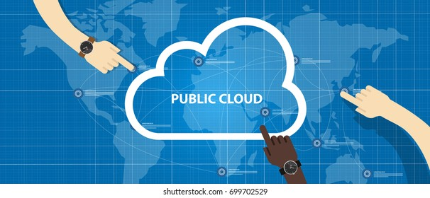 public cloud within a company icon of global data store hand managing