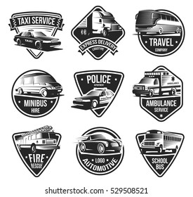 Public and emergency transport logos set with retro style captions and special purpose car vehicle icons vector illustration