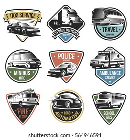 Public and emergency transport logos set of various services with different vehicles on white background isolated vector illustration