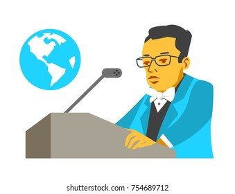 Public figure speaks about global problems. Simple flat graphics.