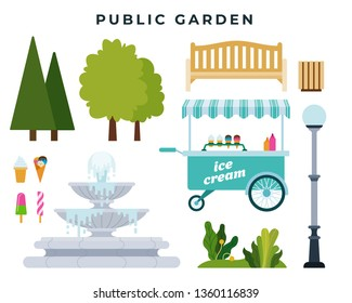 Public garden or park constructor. Set of different park elements: trees, bushes, bench, fountain, urn, street lamp, ice cream tray. Flat style vector illustration, isolated on white.