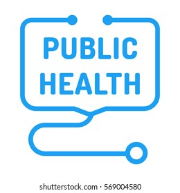 Public health. Badge with stethoscope icon. Flat vector illustration on white background.