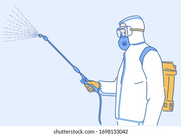 Public health officer in protective equipment disinfects with a sprayer in the city. Surface treatment due to coronavirus disease. Infection control concept. Hand drawn in thin line style