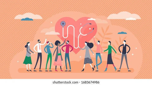 Public health vector illustration. Overall society health control flat tiny persons concept. Disease prevention and virus protection study. Medical healthcare science to prolonging public life quality