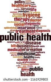Public health word cloud concept. Vector illustration