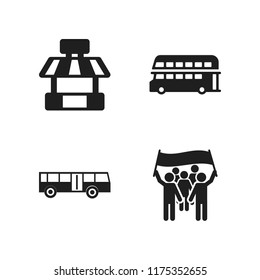 public icon. 4 public vector icons set. bus icon, protest and double decker bus icons for web and design about public theme