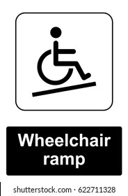 Public Information Sign isolated on a white background -  Wheelchair ramp