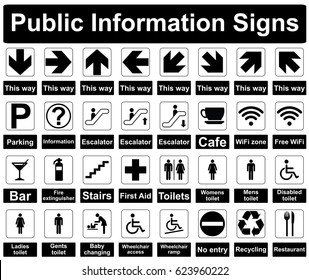 Public Information Signs Isolated on a White Background