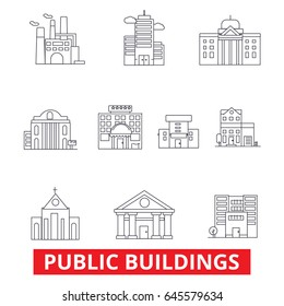 Public institutional buildings, commercial houses, government city estate, town line icons. Editable strokes. Flat design vector illustration symbol concept. Linear signs isolated on white background