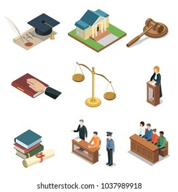 Public justice isometric 3D elements. Scales of justice, jury trial, oath of bible, pronouncement of sentence, courthouse, defendant with lawyer. Law and judgment legal justice vector illustration.