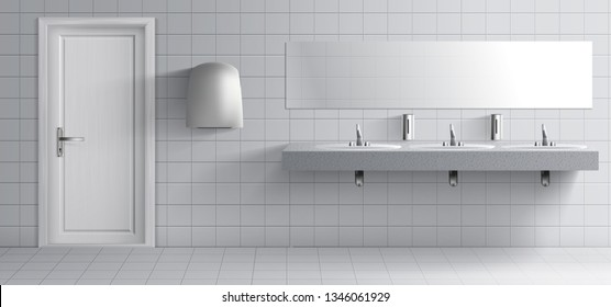 Public lavatory room interior 3d realistic vector. Toilet washing basins row with metal faucets on marble plate, liquid soap dispensers, hand drier unit, long mirror on grey tilled wall illustration