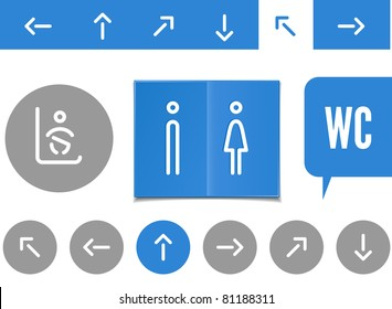public lavatory signs - arrows, man and women restrooms and changing baby place