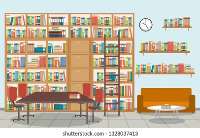 Public Library Interior Stack of Book on Bookshelf Flat Design