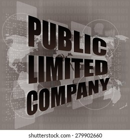 public limited company on digital touch screen vector