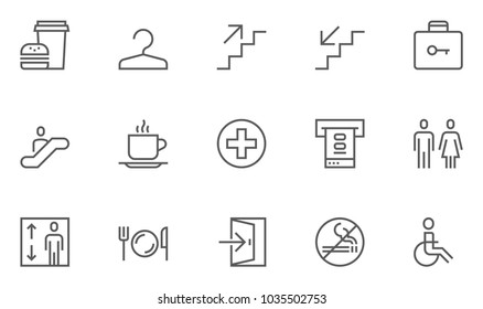 Public Navigation Vector Flat Line Icons Set. Cloakroom, Elevator, Exit, Taxi, ATM, Cafe. Editable Stroke. 48x48 Pixel Perfect.