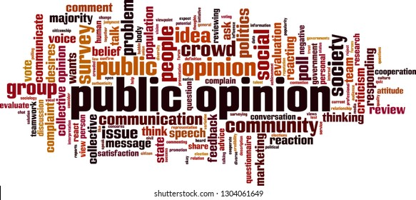 Public opinion word cloud concept. Vector illustration