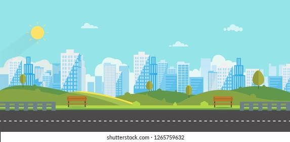 Public park with bench main street city with sky and city background.Beautiful nature scene with town and hill.Clean spring amazing scenery. Vector illustration.Road with urban