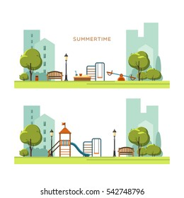 Public park in the city with children playground. Spring season. Vector illustration.
