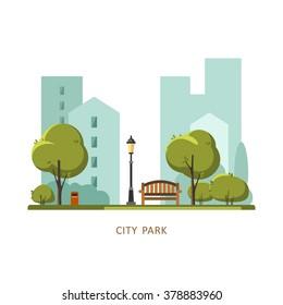 Public park in the City. Vector illustration.