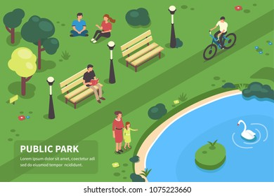 Public park concept banner with characters. Can use for web banner, infographics, hero images. Flat isometric vector illustration.