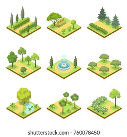 Public park isometric 3D set. Flower bed, pool with water, lawn with green grass and decorative trees, park roads and benches vector illustration. Nature map elements for parkland landscape design.
