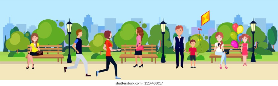 public park people active relax sitting wooden bench outdoors walking cycling running green lawn trees on city buildings template background flat banner
