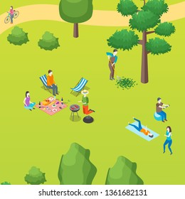 Public Park with People and Bbq Concept Card Poster Scene Element Web Design Style. Vector illustration of Active Leisure in City