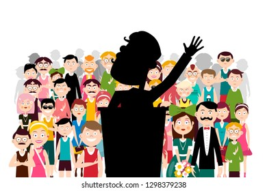 Public Political Meeting. Famous Man Speaking at Business Conference. Vector Speaker and Audience Illustration.