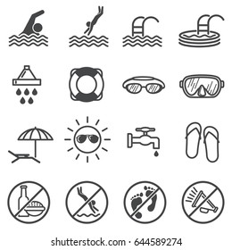 Public pool vector warning signs. Swimming rules icons
