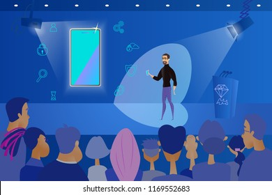 Public Presentation of New Mobile Phone Cartoon Vector Concept with Company CEO, Standing on Stage in Front of Audience with Cellphone in Hand, Explaining Advantages and Functionality of New Product