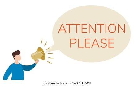Public Promotion Service Flat Social Media Banner. Faceless Man Holding Megaphone Cartoon Character. A