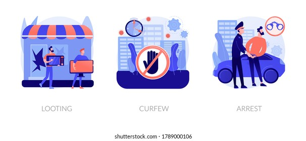 Public protest abstract concept vector illustration set. Looting and curfew, arrest, street action, stolen goods, meeting and vandalism, riot police, violence and crime, detention abstract metaphor.